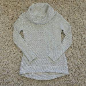 White/gray cowl neck textured sweater